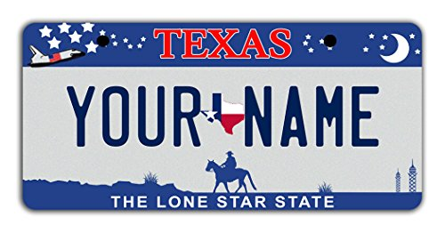 BleuReign(TM) Personalized Custom Name Texas State Bicycle Bike Moped Golf Cart 3″x6″ License Plate Tag