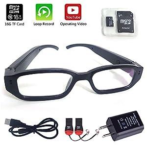 Glasses Camera 16GB Included Updated Version MidZoo HD Eyewear Mini Portable DVR Eyeglasses Camera Video Recorder Black