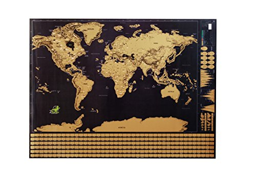 Scratch off world map poster frame included deluxe glossy finish scratch off world map poster frame included deluxe glossy finish detailed newly improve map by 2gecko thicker paper scratch tool and gold marker pen gift gumiabroncs Image collections