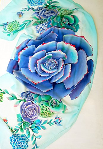 Hand Painted Large Silk shawl Bridesmaid gift Blue succulent plant Wedding floral scarf by Alla Taisheva