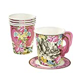 Talking Tables Truly Alice Whimsical Party Cup and Saucers (12 Pack), Multicolor