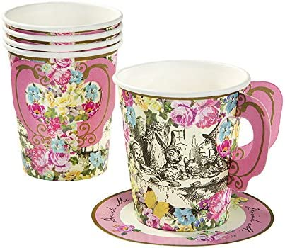 8 pcs Mad Hatters Tea Party Paper Plates Food Buffet Alice Decoration Tableware