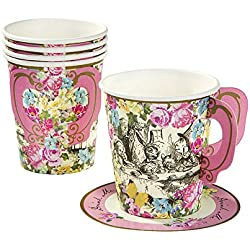 Talking Tables Truly Alice Mad Hatter Cup & Saucer for a Tea Party, Multicolor (12 Pack)