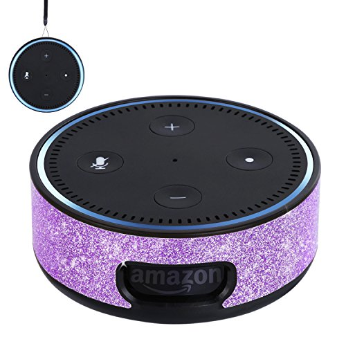 BENTOBEN Wall Mount Case for Amazon Echo Dot Alexa (Fit Echo Dot 2nd Generation) Glitter Sparkle Premium Vegan Leather Cover Sleeve Wall Mount Stand Guard Holder for Echo Dot 2nd Gen,Purple