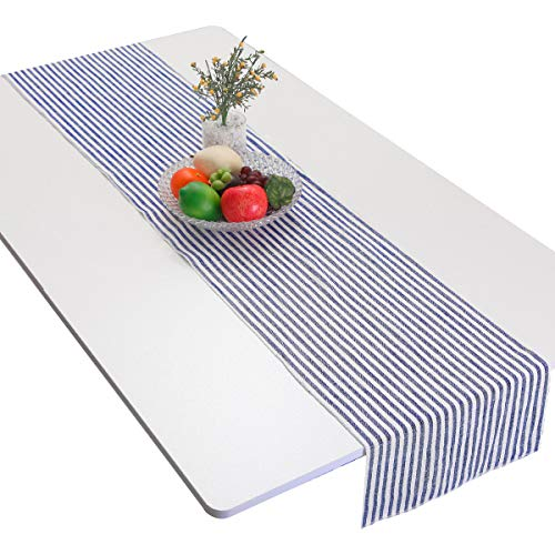 - mookaitedecor Dark Blue Striped Table Runner Cotton Linen Runners for Wedding Party Dinner & Everyday Use, 13 x 62 Inch