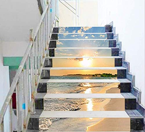 FLFK 13PCS/Set 3D Sunrise Ocean Beach Self-Adhesive Stair Risers Stickers Vinyl Staircase Stickers Stairway Decal Wallpaper 39.3Inch x7.08Inch by FLFK (Image #4)