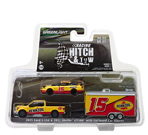 2015 Ford F-150 and 2012 Shelby GT500 Pennzoil with Enclosed Car Hauler Racing Hitch & Tow Series 1 1/64 Diecast Models by Greenlight 31050 - Series Shelby 1 Model