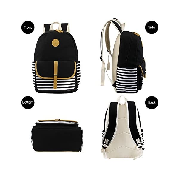 Aiduy Student Canvas Bookbag Lightweight Laptop Bag with Shoulder Bags and Pen Case for Teen Boys and Girls School Backpack Black, 3pcs