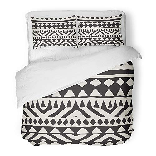 Emvency Decor Duvet Cover Set Full/Queen Size Black and White Tribal Doodle Aztec Abstract Geometric Ethnic Ornamental 3 Piece Brushed Microfiber Fabric Print Bedding Set -