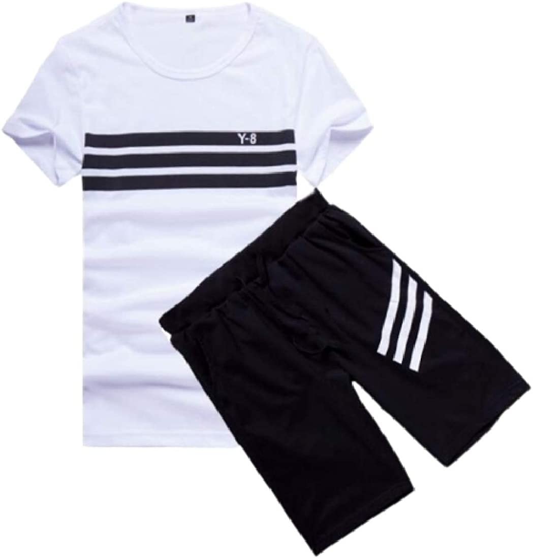 SHOWNO Mens T-Shirts Striped Workout Two Pieces Shorts Pants Tracksuit Set