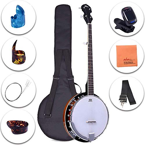 (ADM 5-String Banjo 24 Bracket with Closed Solid Wood Back and Geared 5th Tuner, Beginner Pack with Bag, Tuner, Strap, Picks and Strings )