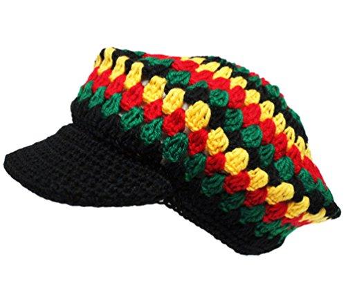 Knitted Beret Rasta Reggae Tam Visor Crochet Cap Hat (Mosaic) (Rasta Beret)