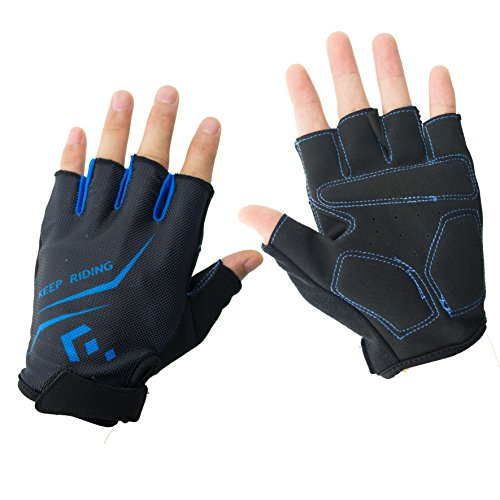 HiCool Cycling Gloves, Summer Half Finger Breathable Gloves for Exercise, Outdoor Sports, Riding Equipment (Blue, M)