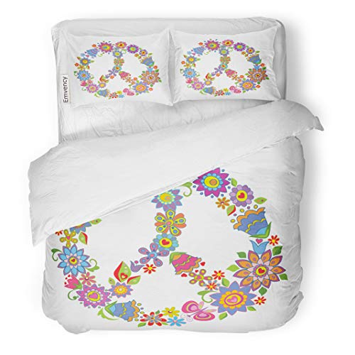 Semtomn Decor Duvet Cover Set Twin Size Sign Peace Flower Symbol 1960S Clipart Hippie 1970S 70S 3 Piece Brushed Microfiber Fabric Print Bedding Set Cover