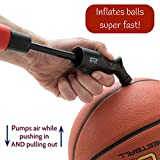 Pifito Ball Pump - Dual Action Hand Air Pump for Soccer Ball, Football, Basketball and Inflatables - Convenient Storage Pouch included - with 4 Additional Needles (1 Pack)