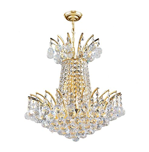Worldwide Lighting Empire Collection 4 Light Gold Finish Crystal Chandelier 16