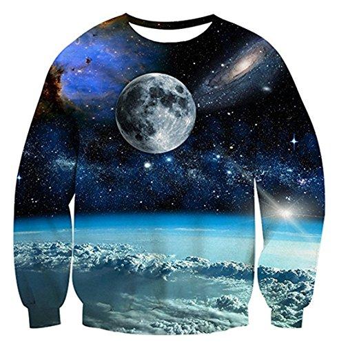 Union Link Women Men Printed Universe Planet Crewneck Sweatshirts Casual Shirt Blue (Printed Union)
