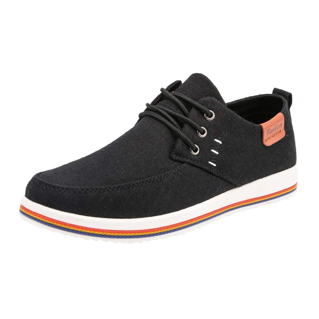 Mens Casual Fashion Sneakers -【MOHOLL】 Men Shoes Outdoor Canvas Casual Shoes Comfortable Flat Sneakers Black
