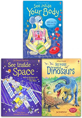 Usborne Flap Book, See Inside Collection 3 Books Set (The World of Dinosaurs, See Inside Space, See Inside Your -