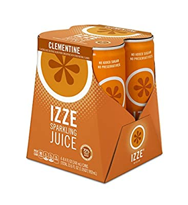 IZZE Fortified Sparkling Juice, Clementine, 4 Count, 8.4 oz Cans by Pepsico