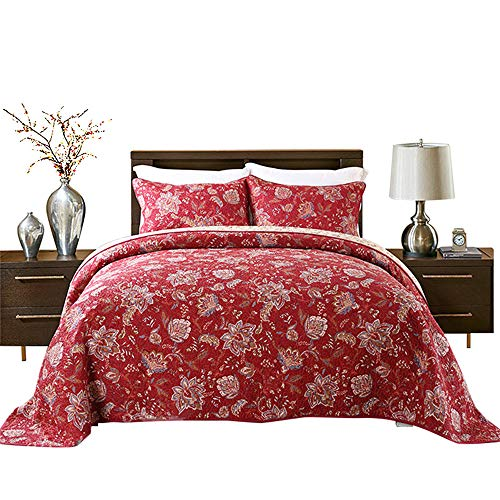 HNNSI 3 Pieces Quilt Comforter Sets Queen Size 3 Pces, Red Flower Patchwork Cotton Bedspread,Comfy and Soft Bedding Sets (Red - Quilt Red Cotton