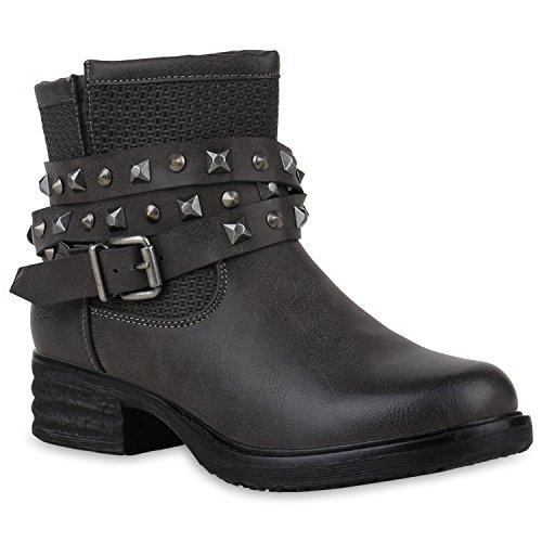 Stiefelparadies Damen Biker Boots Leicht Gefüttert Nieten Stiefeletten Schnallen Flandell Grau Nieten Brito
