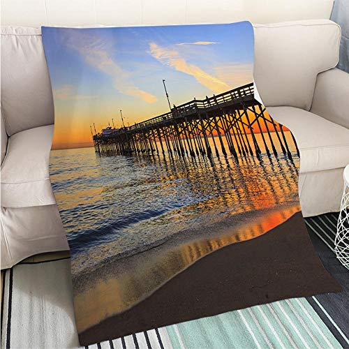 (BEICICI Art Design Photos Cool Quilt Balboa Pier Orange County California Fashion Ultra Cozy Flannel Blanket )