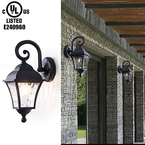 GORGAN Vintage Outdoor Wall Lantern Exterior Wall Mounted Porch Retro Light Waterproof Aluminum Housing Acrylic Decoration Matte Wall Sconce for Garden Patio Pathway Staircase Balcony, Black [並行輸入品] B07R7RFK37