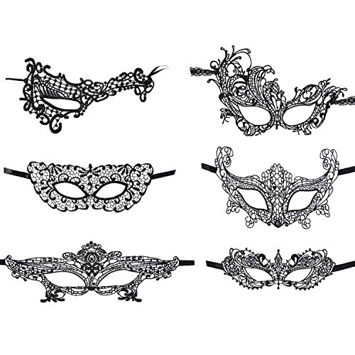 [eBoot 6 Pack Lace Masquerade Mask Sexy Lace Eyemask Women Eye Mask for Halloween Carnival Ball Party,] (Black Lace Masquerade Masks)