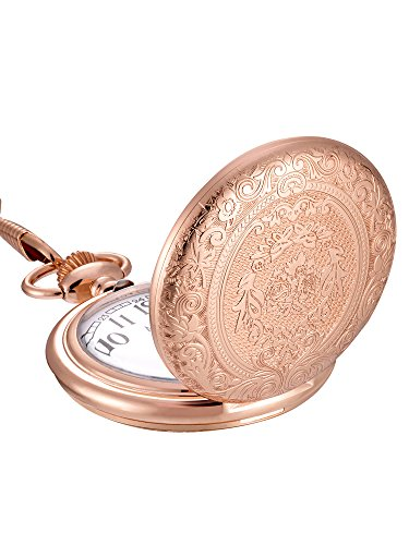 Mudder Vintage Stainless Steel Quartz Pocket Watch with Chain, Golden Rose Color (Costume Pocket Watch)