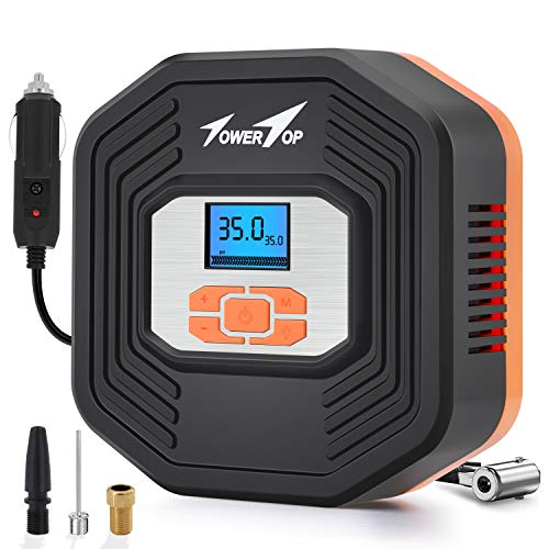 TowerTop Portable Air Compressor Pump, 12V Car Tire Inflator, 150 PSI Car Tire Pump with LED Light and LCD Digital Display for Car Tires, Bicycle and Other Inflatables