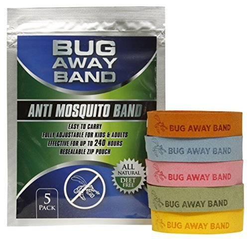 Bug Away Band, All Natural Mosquito Repellent, DEET Free Bands, 5-Pack