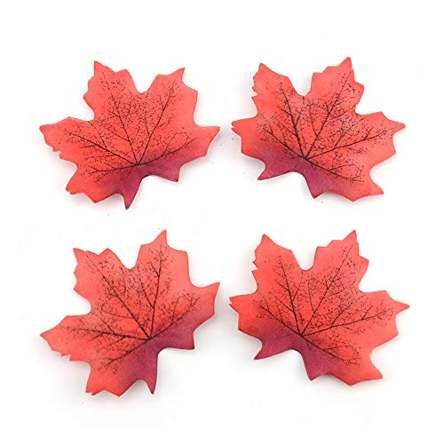 (R STAR 100 Pcs Assorted Artificial Maple Leaves Monochrome Artificial Fall Leaf for Thanksgiving Table Door Fall Wedding Party Birthday Baby Shower Decorations(Sunset red))