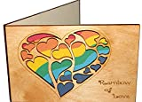 Handmade Real Wood Rainbow Hearts Love Greeting Card for LGBT Gay Lesbian Couple Unique Valentine Best Wedding Dating Wooden Anniversary Gift for Partners Him Her Boyfriend Girlfriend