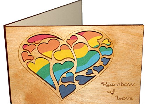 Handmade Real Wood Rainbow Hearts Love Greeting Card for LGBT Gay Lesbian Couple Unique Valentine Best Wedding Dating Wooden Anniversary Gift for Partners Him Her Boyfriend Girlfriend by LapaTOON
