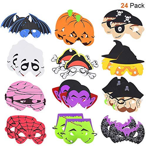 ATDAWN 24 Pack Halloween Foam Mask, Halloween Mask Craft Kit, Halloween Kids Party Favors, Halloween Crafts Supplies, Halloween Prizes
