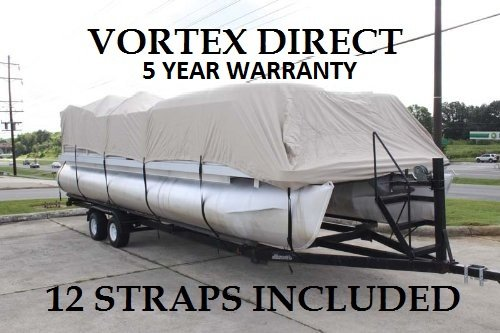 Vortex New TAN/Beige 18 FT Ultra 5 Year Canvas Pontoon/Deck Boat Cover, Strap System, FITS 16'1