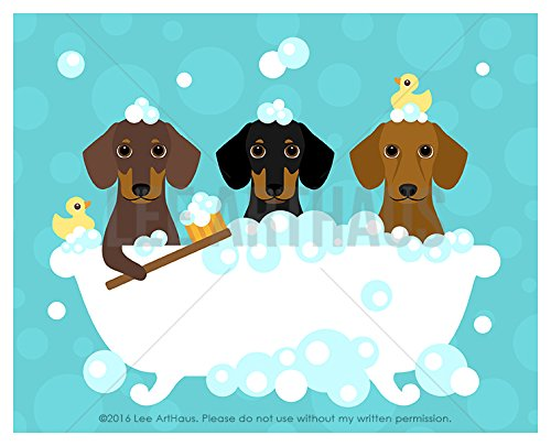 239D - Three Dachshund Dogs in Bubble Bath UNFRAMED Wall Art Print by Lee ArtHaus