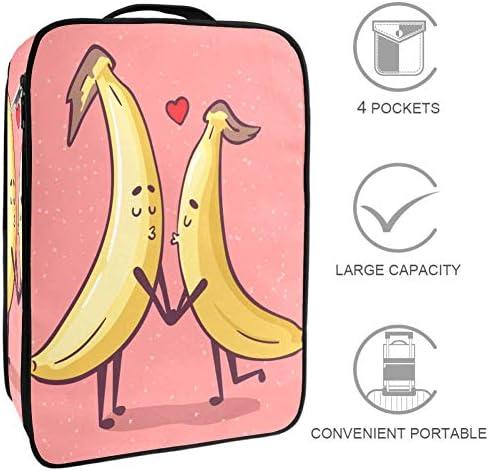 MYSTAGE シューズバッグ バナナ カップル 果物 靴箱 シューズケース シューズ袋 収納ポーチ 二層式 靴入れ 小物収納 収納ケース アウドドア 出張 旅行