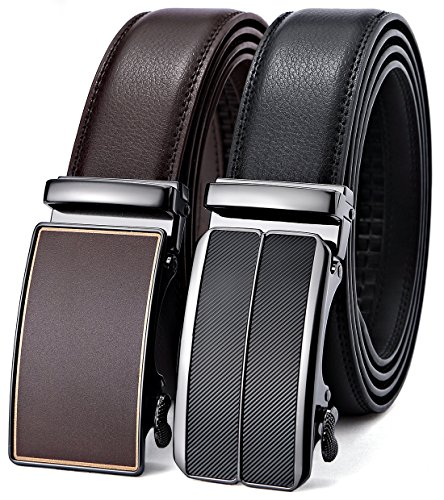 Mens Belt,Bulliant Leather Ratchet Click Belt for Men Father's Gift,Size Adjustable,2 Units ()