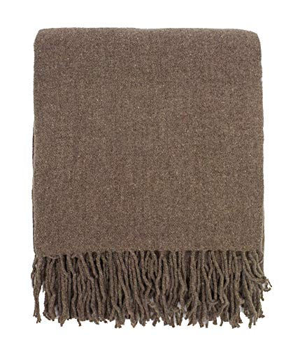 Wool Throw Blanket Blend (Fennco Styles Classic Plain Cozy Wool Blend Woven Tassels Throw Blanket, 50