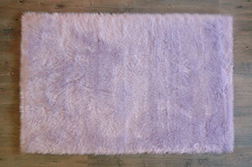 Machine Washable Faux Sheepskin Lavender Rug 4' x 6' - Soft and silky - Perfect for baby's room, nursery, playroom (48'' x 72'') - Fake fur area rug - Lavender 4x6 by kroma Carpets