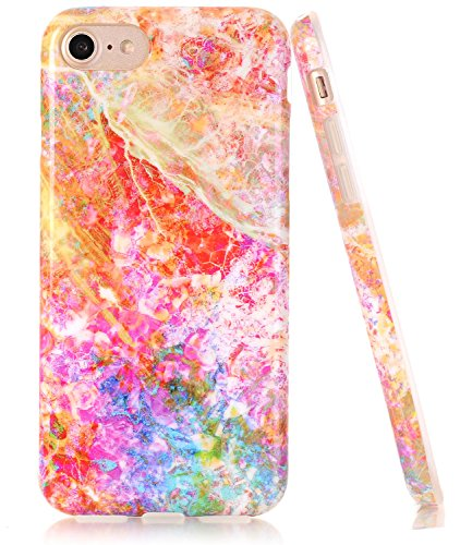 BAISRKE Opal Marble Design Clear Bumper TPU Soft Rubber Silicone Cover Phone Case Compatible with iPhone 7 (2016) / iPhone 8 (2017) [4.7 inch]
