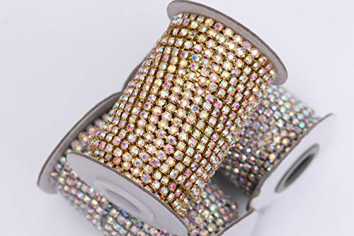 - BLINGINBOX Rhinestones Chain - 10 Yards/R 4 Sizes Crystal/Crystal AB Glass Sew On Rhinestones Cup Chain With Silver/Gold Button Sew On Trim(ss12-3mm, Crystal AB -Gold Bottom)