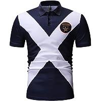 T-Shirt Herren,Sommer Kurze Ärmel Poloshirt Mode Lässig Kurzarm T-Shirt Crop Tops Button Slim Hemd Bluse Tops Mode Revers Muskelshirt Kurzärmelige Shirt Resplend