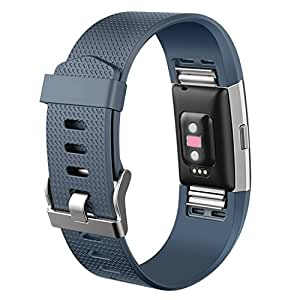 Hotodeal Band Compatible with Fitbit Charge 2 Band, Classic Soft TPU Adjustable Bands Fitness Sport Strap Rose Gold Buckle, Small Large, Navy, Small (5.5''-6.7'')