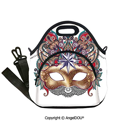 AngelDOU Mardi Gras waterproof insulation portable lunch box bag Venetian Carnival Mask Silhouette with Ornamental Elements Masquerade Costume Decorative student cute girls mummy12.6x12.6x6.3(inch)