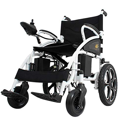 - 2019 New Electric Wheelchairs FDA Approved Transport Friendly Lightweight Folding Electric Wheelchair for Adults (Black)