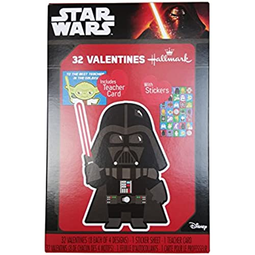 Hallmark Star Wars 32 Valentines Cards w/ Darth Vader Cover w/ Teacher Card, and Stickers Sales