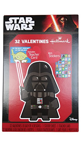 Hallmark Star Wars 32 Valentines Cards w/ Darth Vader Cover w/ Teacher Card, and Stickers